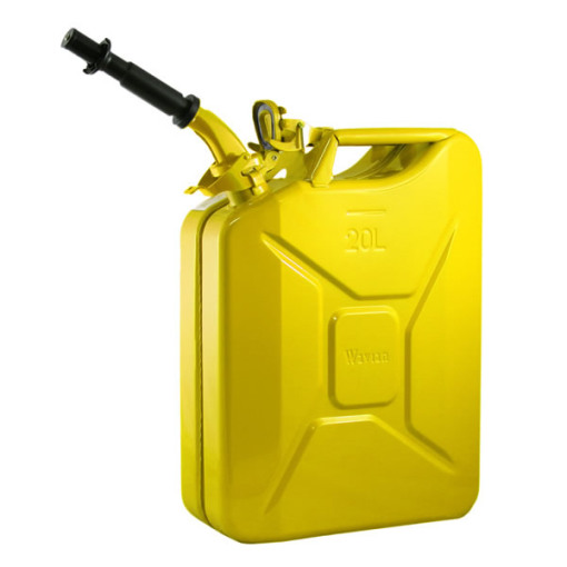 20 liter 5 gallon yellow steel wavian jerry can w spout. Black Bedroom Furniture Sets. Home Design Ideas